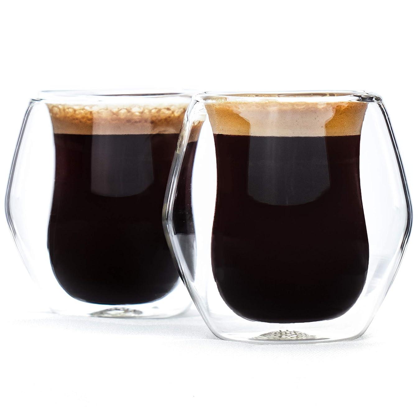 Encora Espresso Glass Cups, Double Shot Size (2.5 oz), Set of 2, Double Wall Insulated, Gift Boxed, Clear Mugs, Demitasse, Latte, Macchiato, Piccolo, Lungo, Italian, Small Coffee or Tea
