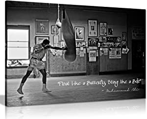 Panther Print, Large Canvas in Black and White, Champion Quote, Muhammad Ali Float Like a Butterfly, Prints for Special Occasions (76x51cm)