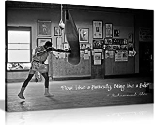 Muhammad Ali Champion Quote Float Like A Butterfly Canvas Wall Art Picture Print (18x12in)