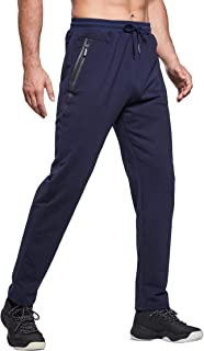 Tansozer Mens Joggers Slim Fit Jogging Bottoms Zip Pockets