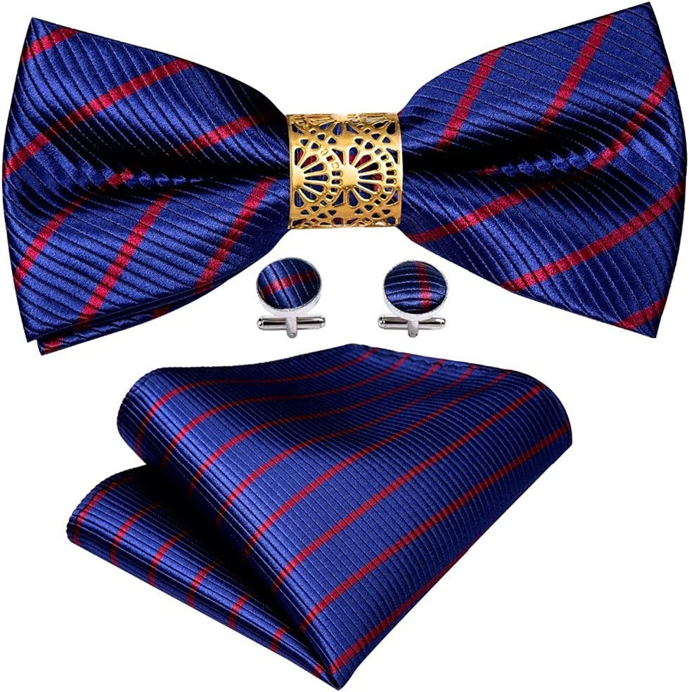 LQGSYT Blue Striped Silk Pre-Bow Tie for Men Wedding Accessorie Adjustable Butterfly Handky Removable Gold Ring Set (Color : Blue, Size : One Size)