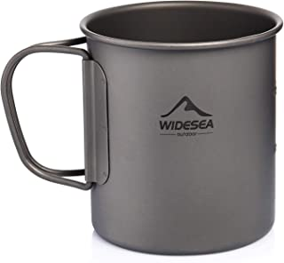 Widesea Ultralight Titanium Cup Outdoor Camping Picnic Water Cup Mug with Foldable Handle 300 ML