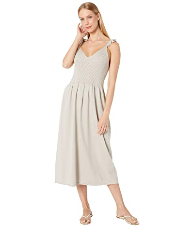 Michael Stars Cotton Knits Maria Ribbed Knit Dress with Tie Straps (Stone) Women