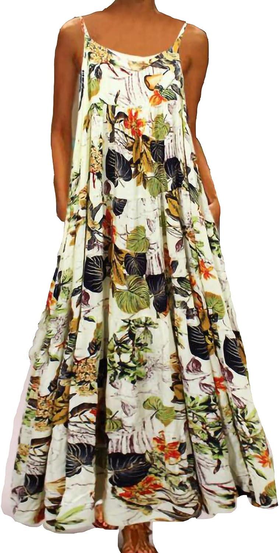 Qonii Women's Maxi Dresses for Beach Flora Collar Max 59% OFF Round Fashion Vacation