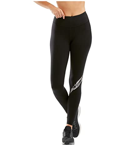 2XU Fitness Stride Compression Tights (Black/Diagonal Stripe Duo Tone) Women