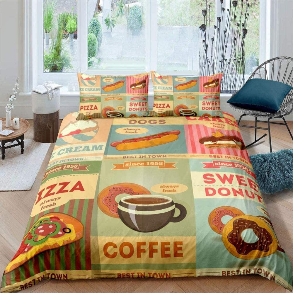 XUESDJMN 3D Printed Duvet Sale SALE% OFF Cover SALENEW very popular! Twin 68X90 Food Inch Pizza Retro