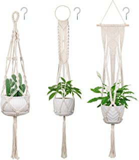 3 Pack Macrame Plant Hangers, Soonow Hanging Planters for Indoor Plants With Hooks Home Decor