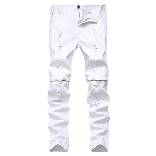 514142166e5f Qazel Vorrlon Men s Ripped Skinny Distressed Destroyed Straight Fit Zipper  Jeans with Holes