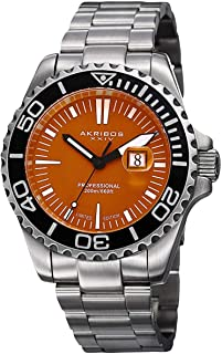 Akribos XXIV Men's Divers Date Display Watch - Coin Edge Divers Bezel, Brushed Stainless Steel Bracelet