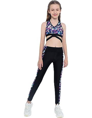 CHICTRY Tuta da Ginnastica Bambina Fitness Crop Top Senza Manica Reggiseno Sportivo con Leggings Sportivi Danza Yoga Jazz Corsa Completi Sportivi Palestra Allenamento