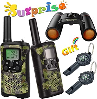 Walkie Talkie for Kids Binoculars for Kids Compass Outdoor Toys Kit Long Range Walkie Talkies Durable Toy Best Birthday Gifts for 6 year old Boys fit Outdoor Adventure Game Camping (Green Camo)