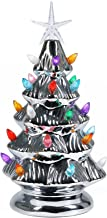 """Sunnyglade 11"""" Ceramic Christmas Tree Tabletop Christmas Tree Lights with 28 Multicolored Lights and 1 Star Toppers for Ta..."""