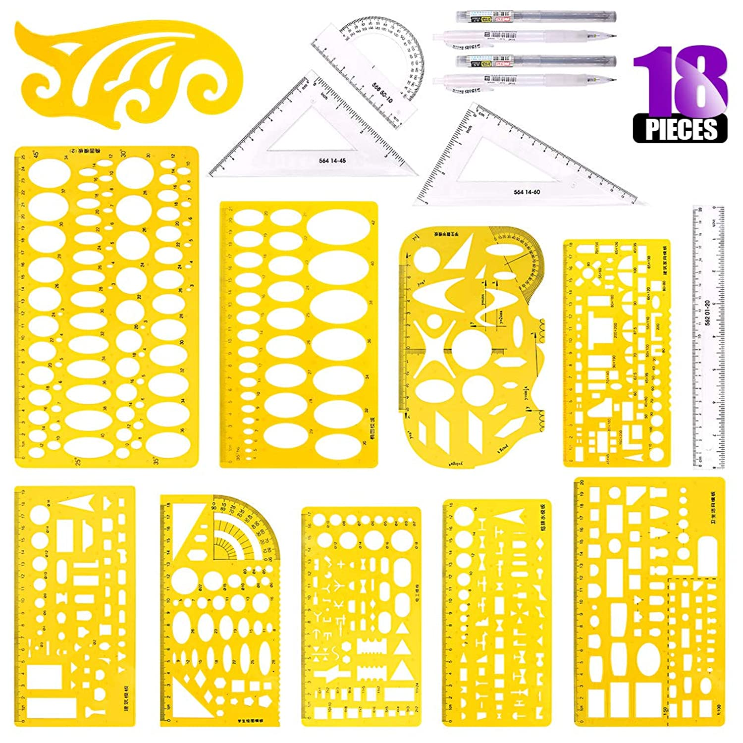 Swpeet 18Pcs Plastic Yellow Geometric Drawings Templates Kit, 10 Different Geometric Measuring Drawings Templates Stencils with 2Pcs Pencil and 5Pcs Measuring Ruler for Drawing Engineering Drafting