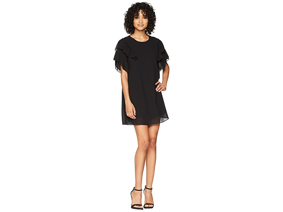 American Rose Caylee Dress with Ruffle Detail (Black) Women