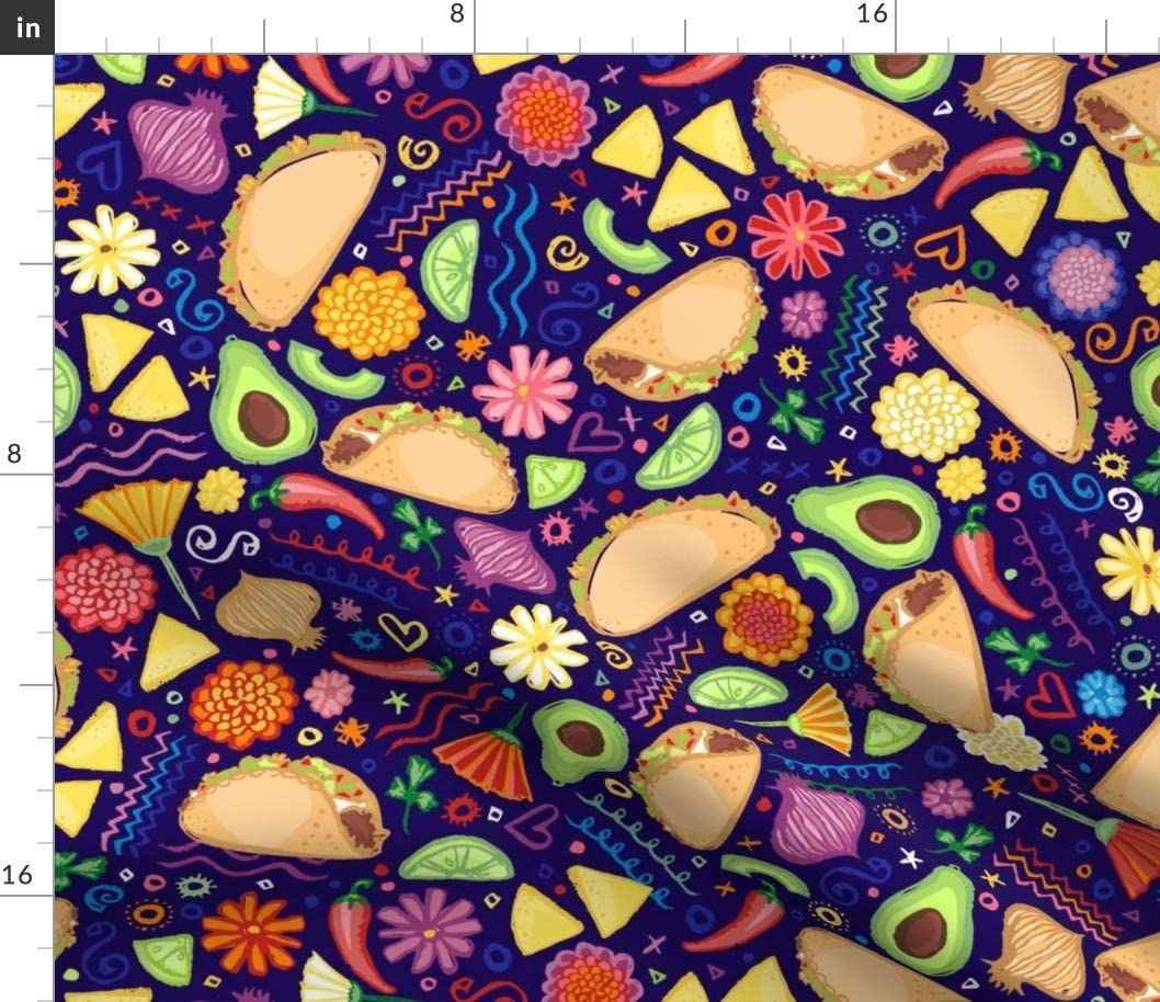 Spoonflower Fabric - Taco 2021 new Fiesta Food Mexican OFFicial store Tacos Avocado Burr