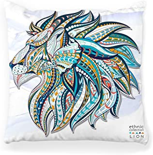 Toobaso Decorative Throw Pillow Cover Square 18x18 Head Lion African Tattoo Animal Leo Crown Face Horoscope King Africa Cat Decoration Force Graphic Isolated Home Decor Zippered Pillowcase