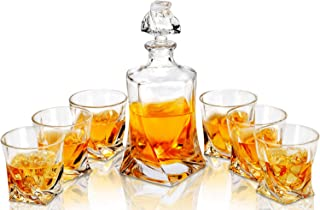 Twist Whiskey Decanter And Glasses Set, LANFULA Premium Lead Free Crystal Liquor Decanter with 6 Scotch Tumblers for Bourbon, Whisky and Alcohol, Ideal Gift for Birthday/Anniversary/Wedding, 7- Piece