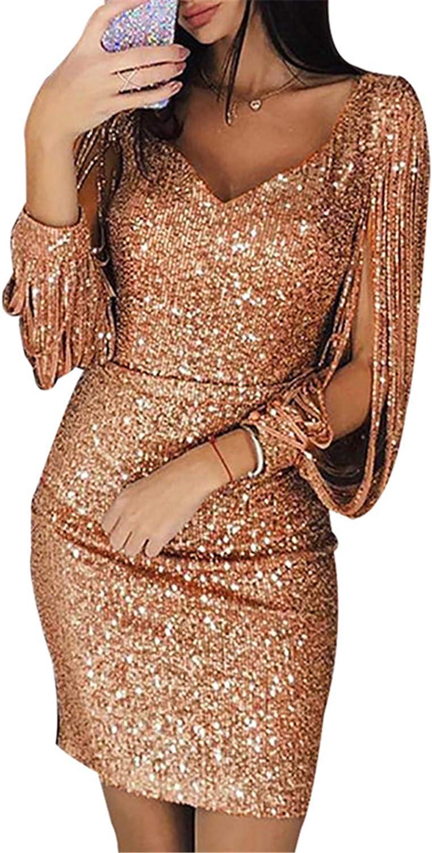 Andongnywell Womens Elegant Sequin Tassel Sleeve Bodycon Long Sleeve Sequins Fringe Dress Sexy Midi Dresses