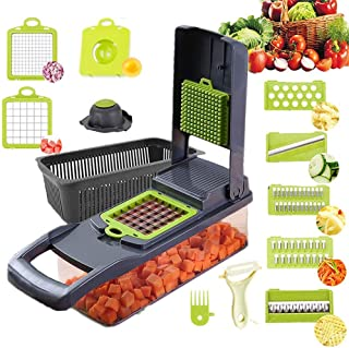 Jundong Coupe-légumes Hachoir et râpe, 11 en 1 Coupe-légumes Hachoir à Pommes de Terre Hachoir à légumes Coupe-légumes ave...
