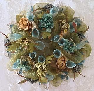 New, Large, Premium Shimmering Floral Deco Mesh Handmade Wreath