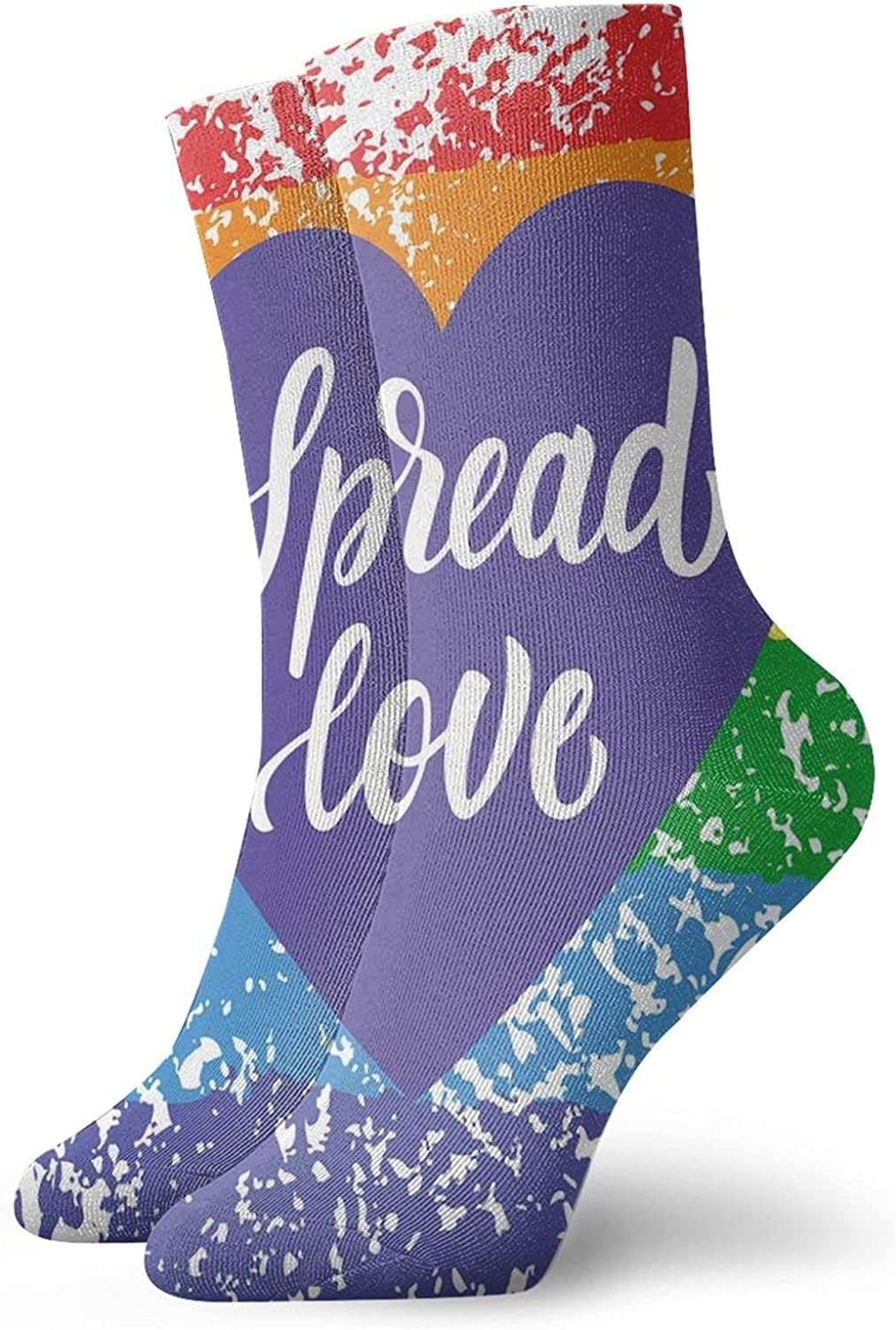 Compression High Socks-Spread Love Valentines Hand Writing Heart Lgbt Parade Slogan Grungy Vibrant Best for Running,Athletic,Hiking,Travel,Flight
