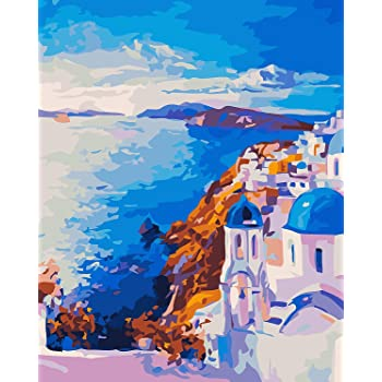 DIY Oil Paint by Number Kits Home Decor Wall Gift Painted for Painting Beginner 16 x 20 Inches LanMent Snow Mountain Lake Painting by Numbers for Adults