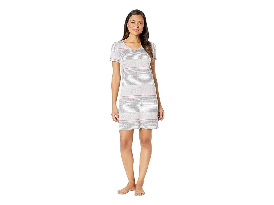 Nautica Short Sleeve V-Neck Sleep Shirt (Multi Stripe) Women s Pajama 884b9a9c3