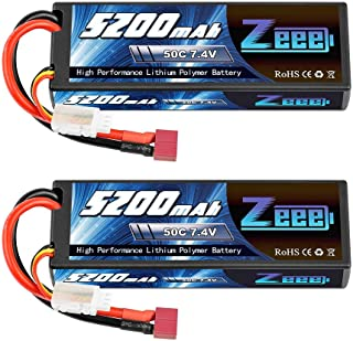 Zeee 2S Lipo Battery 7.4V 50C 5200mAh RC Lipo Batteries Hard Case with Deans Plug for 1/8..