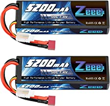 Zeee 7.4V Lipo Battery 2S 50C 5200mAh Lipos Hard Case with Dean-Style T Connector for RC..
