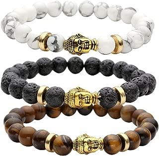 8MM Unisex Black Lava/Tiger Eye/Lapis/Turquoise Energy Stone Mala Beads Stretch Bracelets