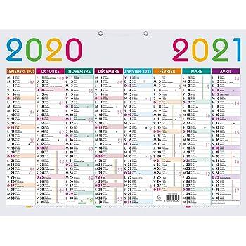 Calendrier Septembre 2018 Aout 2021 Exacompta 34016E Calendrier Multicolore Scolaire 53 x 40,5 cm
