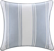 Harbor House Crystal Beach Pieced Fashion Cotton Throw Pillow, Coastal Striped Square Decorative Pillow, 18X18, White with Blue Strapping
