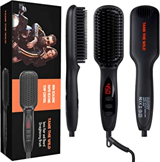"Tame's Beard Straightener for Men - Anti-Scald Beard Straightening Comb - MCH Ceramic Heater Tech - 12 Temp Settings - Built In Ionic Generator - LED Display - Best for Beards Over 2"" Long"