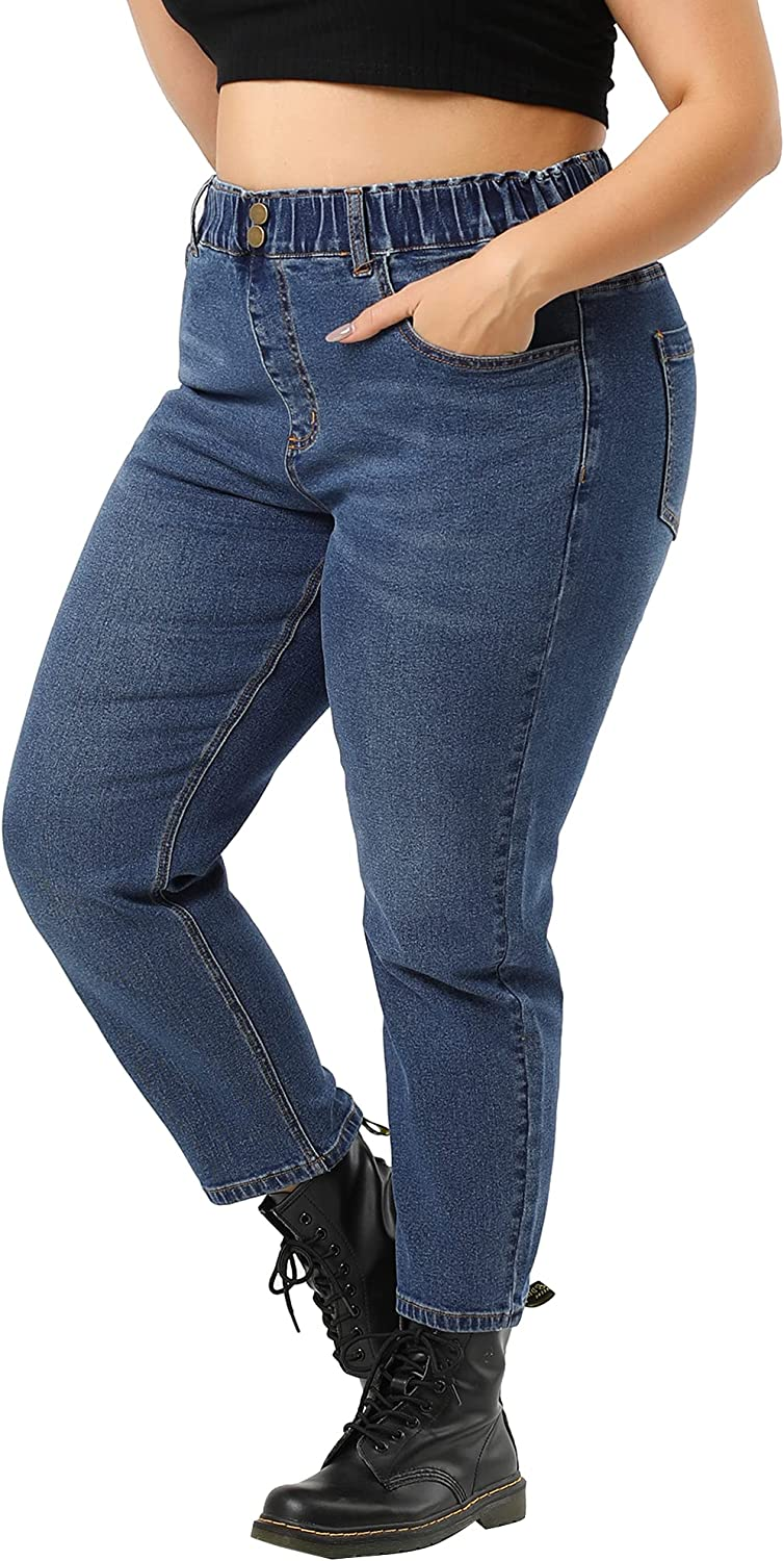 Agnes Orinda Plus Size Denim Jean for Women Elastic High Waist with Pockets Distressed Stretch Washed Jeans