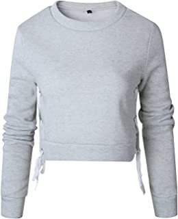 Arctic Cubic Sexy Long Sleeve Thick Warm Eyelet Lace Up Side Cotton Sweatshirt T-Shirt Tee Cropped Crop Top