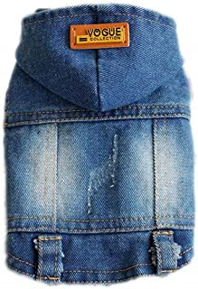 PETCARE Pet Clothes Puppy Hoodie Dog Jeans Jacket Cool Blue Denim Coat Dog Clothes for Small Medium Dogs Lapel Vests Class...