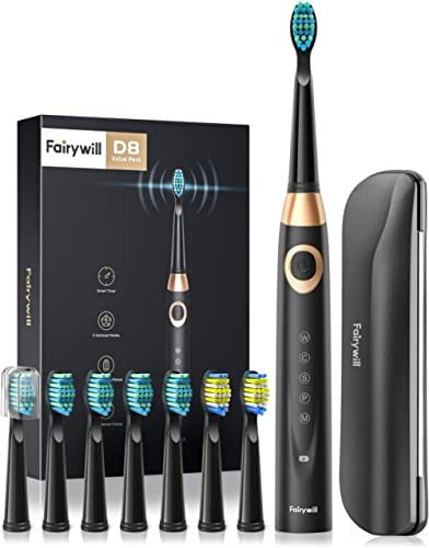 Fairywill Electric Toothbrush for Adults and Kids Accepted by American Dental Association, 8 Dupont Brush Heads & Tra...