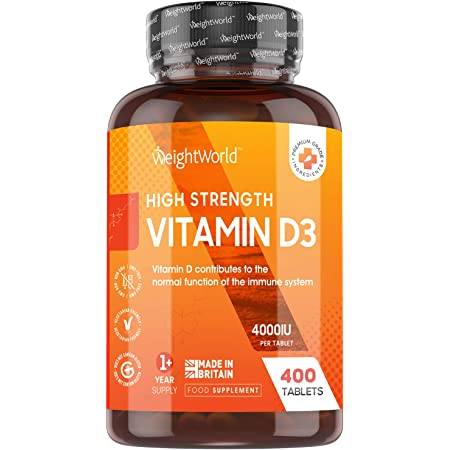 Vitamin D 4000IU High Strength - 400 Tablets (1+ Year Supply), Vitamin D3 Supplement That Contributes to The Normal Function of The Immune System (EFSA), VIT D Made in UK