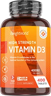 Vitamina D3 4000 UI Dosis Alta - 400 Días de Suministro, Vitamina D Colecalciferol Vegetariano Contribuye a la Función Nor...