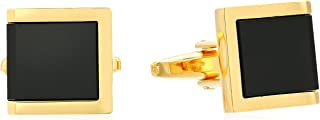 Men's Rectangle with 3 Jet Acrylic Inlays Cuff Links