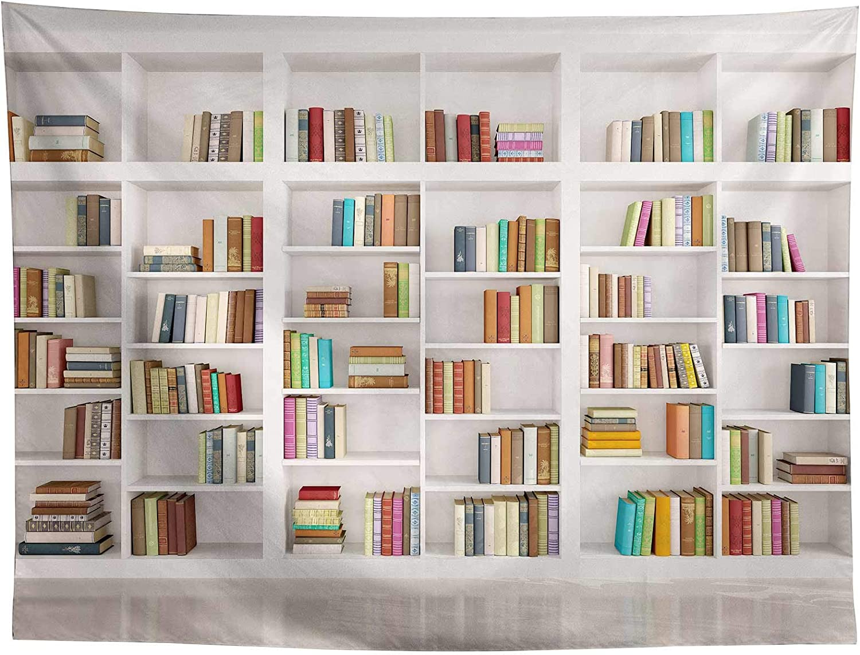 Allenjoy 7x5ft Bookshelf Backdrop Modern School Library Office Bookcase Photography Background for Online Class Graduation Decor Banner Teachers Students Portrait Photoshoot Studio Booth Props