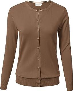 757d040432d ARC Studio Women Button Down Long Sleeve Crewneck Soft Knit Cardigan Sweater  (S-3XL