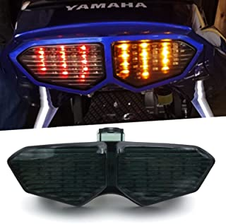 BSK Super Bright Integrated LED Tail Light, Motorcycle Brake Stop Turn Signal Lamp, Waterproof Rear Position Light for Yam...