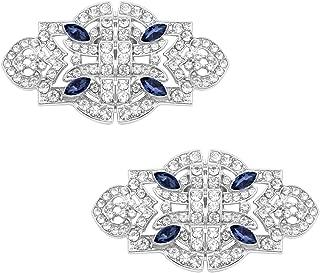 QueenHome 1 Paire Femmes Larme Strass Chaussures Boucle Clips De Mari/ée Cristal De Mariage De Mari/ée Diamante Cristal Clips De Chaussures