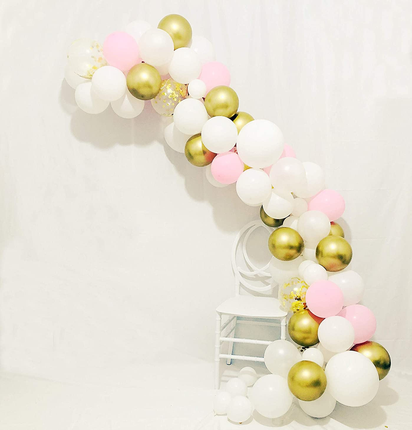 Sogorge Balloon Arch & Garland Kit - 80 Chrome Gold & Blush Pink & White Latex Balloons Gold Confetti Balloons and Balloon Arch & Garland Strip Tool for Wedding, Baby Shower, Graduation Party Decorations