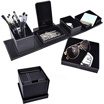 Leather Office Supplies Desk Organizers And Accessories,Desktop Caddy Storage For Card/Pen/Pencil/Mobile Phone/Remote Control Holder (Black)