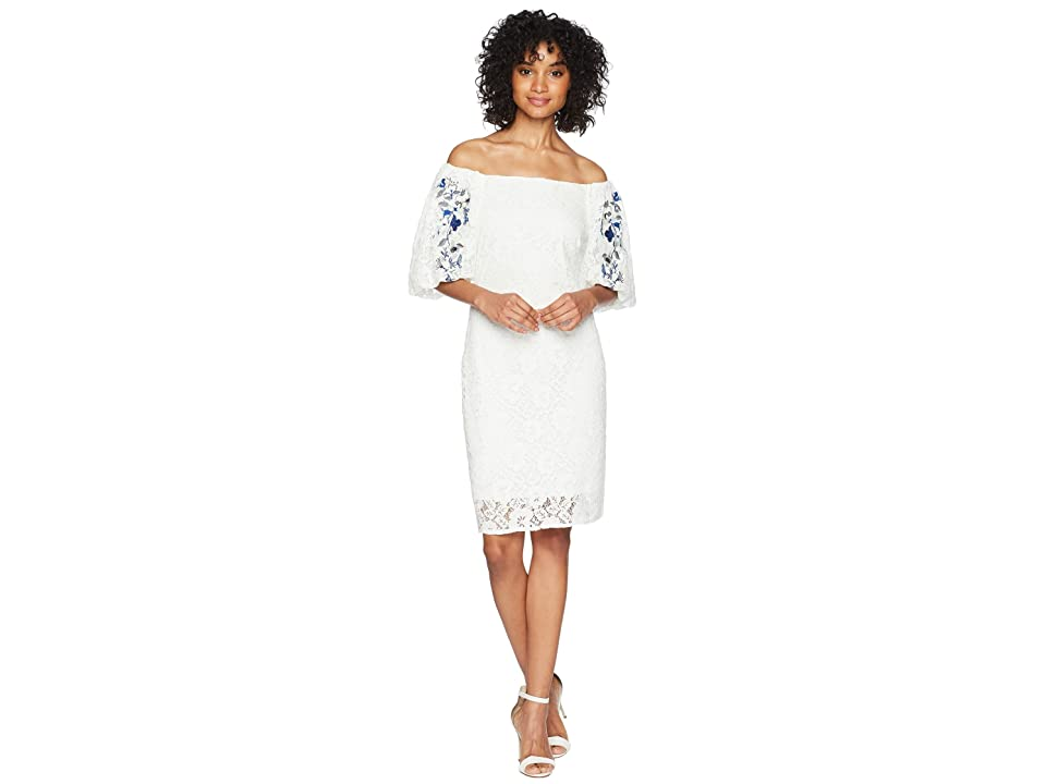 Taylor Lace Embroidered Sleeve Dress (Off-White) Women