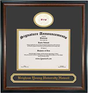 Signature Announcements Brigham Young University Hawaii (BYUH) Undergraduate and Graduate/Professional/Doctor Graduation Diploma Frame with Sculpted Foil Seal & Name (Matte Mahogany, 16 x 16)