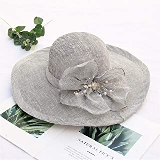SHENTIANWEI 2019 New Large Brimmed Sun hat Female Summer Sun Visor Korean Beach Diamond Flower Cotton Beach hat (Color : Grey, Size : Adjustable)