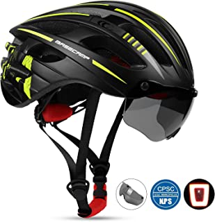 Shinmax Bike Helmet,Bicycle Helmet BC-049 CPSC&CE Certified with USB Rechargeable LED Light+Magnetic Goggles+Reflective Sticker Adjustable for Adult Men&Women Cycling/Mountain,Bonus with a Backpack